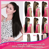 Fashion  24 inch 60cm P005 Long Straight Hair Synthetic  Ponytail Extension PonyTail Multicolor 8 Colors  Good Quality 1PCS