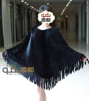 QD6443 Genuine Knitting Mink Fur Poncho Charm Lovely Coats Dress Sweater Pullover/holesale/Retail/Free Shipping/  A G