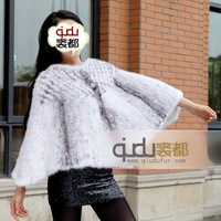 Fashion Casual Genuine Knitted Mink Fur Poncho(cross mink)/Free Shipping/Wholesale/Retail/OEM/Hot Selling QD6456  A G G