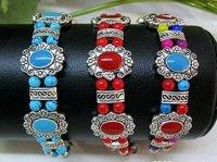 Free shipping,Low price wholesale, national manual silver bracelet ,National characteristics bead bracelets