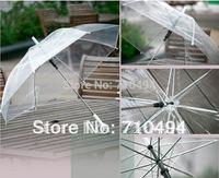 free DHL shipping transparent see-through clear umbrella, white transparent walking umbrella, custom logo print acceptable