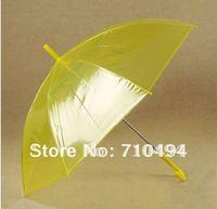 free DHL shipping  yellow transparent umbrella, yellow clear poe&pvc umbrella, auto open,logo & name & pictures print acceptable