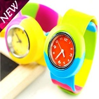 New Arrival Mini Children Slap Watches Students Colorful Silicone Slap Watch Promotional Gifts Toys Table