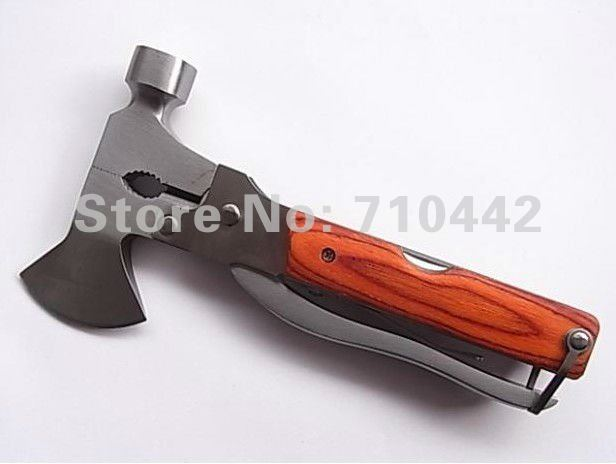 Free shipping multi function Combination hammer axe cutting hiking tools knife saw Hot selling