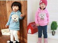 Children Bear hoody gilrs boys baby hoodies Sweatshirts pink blue 2015 newest free shipping
