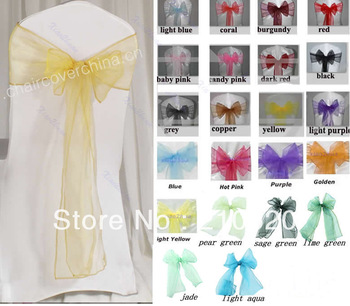 22 pcs/lot Wedding Organza Chair Cover Sashes Sash Party Banquet Decor Bow Colours Free shipping to Ru