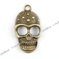 Wholesale-25pcs Charms Antique Bronze pendants Skull necklace pendant Vintage Pendant 140952
