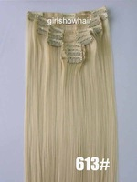 synthetic hair extension,straight clip in hair,clip in hair,synthetic hair,color 613#,55cm,130grams,1pc