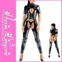 Fre eshipping Sexy Black Latex Bodysuits for Women LB1005