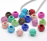Mixed Multicolor 14mm Basketball Wives Ball Mesh Spacer Beads Fit for Earrings&amp;Bracelets 300pcs/Lot