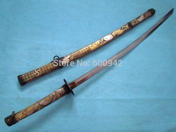 COPPER SHEATH JAPANESE FOLDED STEEL SAMURAI SWORD KATANA- DRAGON TIGER