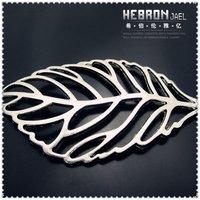 Tibetan Silver (10pcs) Zinc Alloy Jewelry Accessories Hollow Leaf Charm(3909#)56*61 mm Free ship
