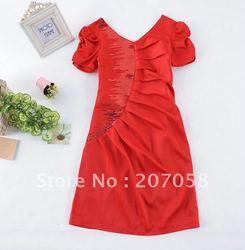 Free shipping ladies' fashion elgent OL dress  V neckline dress sequins on the waist  L XL 2XL 3XL 4XL