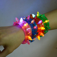 Free shipping 240pcs/lot 8pcs lights  fashion led bracelet blinking spike bracelet light up for party supply