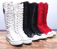 Women Girls Punk flat Canvas Boots Skate Sneaker Lace Up Shoes Knee High trainer