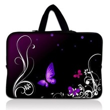 """HOT! Purple Butterfly Neoprene 9"""" 10"""" 10.1"""" 10.2"""" Laptop Netbook Tablet PC Sleeve Bag Case Pouch Cover + Invisible handle(China (Mainland))"""