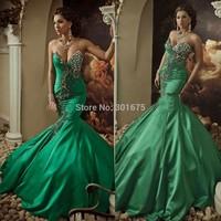 Luxury dubai arabia crystal beaded mermaid evening dress lime green