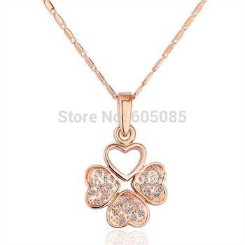 18KGP N188 Leaf 18K Gold Plated  Pendant Necklace Health Jewelry Nickel Free Rhinestone Austrian Crystal  Element