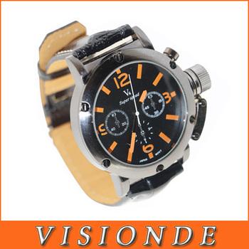 6 Hands Men Wrist Quartz Watch Black Dial Belt Fashion*Best Lovely Gift & Retail Goods*(NBW0FA5203)