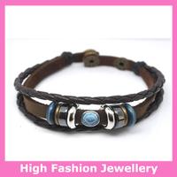 E0012 real cow leather wristband,new arrival high quality men's fashion jewelry,stylish leather charm braid bracelets 12pcs/lot