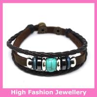E0015 real cow leather bracelets,new design high quality man's fashion jewelry,stylish leather charm braid wristbands 12pcs/lot