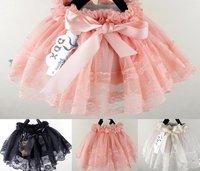 free shipping spring 2012 new fashion bow Ribbon lace yarn Girls tutus,kids pettiskirts,4pcs/lot,