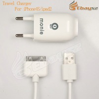 DHL Free shipping 10pcs /lot in1 Home Wall Charger USB Cable for iPod Nano Touch iPhone 3G 3GS 4 4GS EU