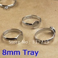 Free Shipping 200pcs Fit 8mm flat pad or a bezel cup Antique adjustable Filigree Ring Setting Base