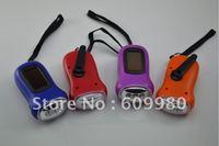 Free shipping,Hand Crank generator, Dynamo flashlight, Solar Power 3 LED Flashlight Torch Light