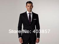 Men Suit Hand Made Two Button 2pc Notch Lapel Super 120's Wool Flat Front Pants Modern Business slim Suit Black  MS0293