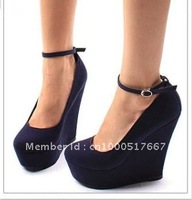 high heel pumps wedge,suede leather dress shoes for women,ladies high heel shoes sexy,wedge dress shoes dark  blue