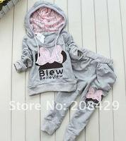 Hot sell 3color kids sport Clothes Set baby girls sport suit Hoodies+Pants two-piece Baby Butterfly Sets