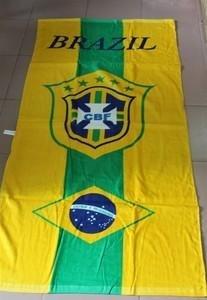 brazil beach towel / rectangle yellow cotton bath towel  / fans  bath towel  70x145cm