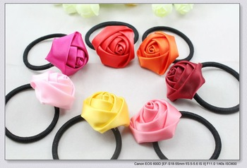 Free shipping 7 colors 3 cm in diameter of cute satin rose ponytail girl hairbands lady hair ties & elastic headband H2040