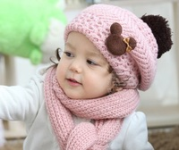 Free shipping Baby Hat and scarf set warm Girl Winter beret Knitted crochet Scarf+Hat Mickey hats+Muffler