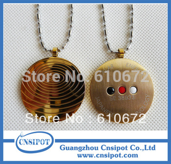 12pcs/lot Stainless Steel Quantum Scalar Energy Pendants with Bio Energy Card