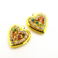 23mm 20pcs Fashion Gold Plated Heart Locket Pendant Zircon Crystal Wish Box Pendant For Necklace Free Shipping HA100