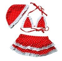 Kids' girls Children Beach Supplies Swimwear Dot Bikini sub-body swimsuits + cap 1119 B