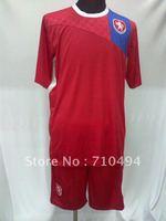 free shipping 2012 European Cup Czech home team football jersey/uniform with pants, best quality Czech home team soccer t-shirt