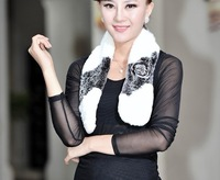 New Arrival real rex rabbit  fur scarf  with flower 3 colors Wholesale and retail FS123240128 Free shipping