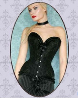 Free Shipping! 100% Genuine Steel Boned Overbust Corset and Bustier Lace Bow Corset Top For Women
