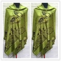 Free Shipping Green Women's Reversible Two-Face Pashmina Silk Shawl Scarf Butterfly SH005-C