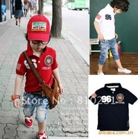 Free shipping,5PCS/Lot  Bead to cloth breathable children short sleeve boy girl lapel T-shirt embroidery short sleeve