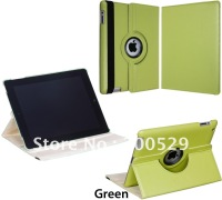 360 Rotating Leather Case Smart Cover Stand for New iPad 3& ipad 2,Free Shipping
