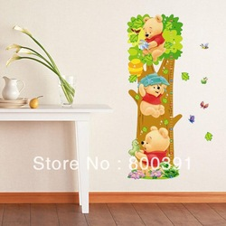 wholesale 5pcs Kids wall stickers Bear Kids Growth Height stickers, Growth up Measure,grow up with me,(China (Mainland))