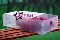 Free shipping Coloful Folded Shoe Box plastic drawer type shoe box 10PCS/LOT