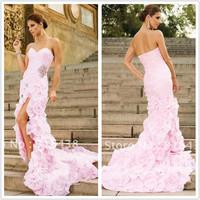 New Design QW-17 Elegant Sweetheart Organza  Flowers Short front Long back  White/Ivory/Pink Wedding Dress  VESTIDO DE NOIVA