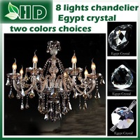 Egypt  crystal  hotsale   8  Lights Cognac color and smoky cray color choices   ,modern crystal  chandelier