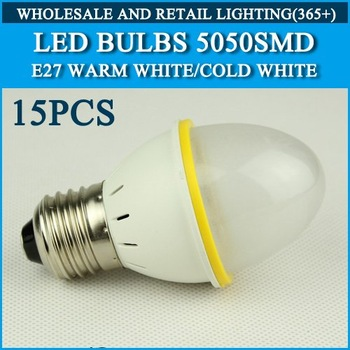 LED Bulb Lamp E27 AC220V 230V 240V Warm White/Cold white 4W 270LM 15pcs SMD5050 Free Shipping