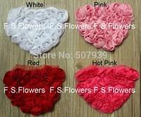 Free ePacket/CPAP 3D valentine chiffon rosettes heart applique for hair clothes accessories 13x10CM100pcs/lot 4 stock colors